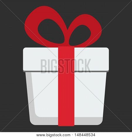 Gift box with a red ribbon and bow flat design icon. Vector illustration on black. Present holidey concept object.