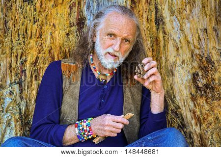 Good looking elderly man dressed in hippie style having rest leaned against very old damaged pine tree holding twig and pine cone