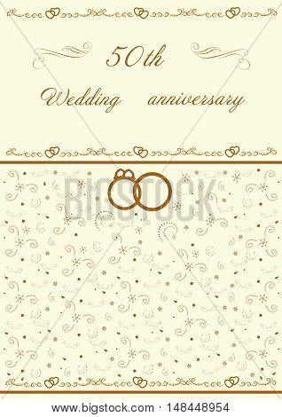 Golden wedding invitation editable and scaleable vector illustration