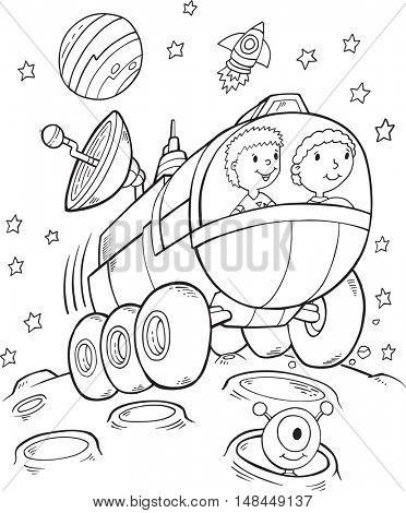 Doodle Space Buggy Vector Illustration Art