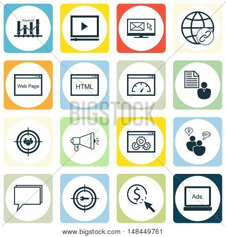 Set Of Seo, Marketing And Advertising Icons On Display Advertising, Video Advertising, Target Keywor