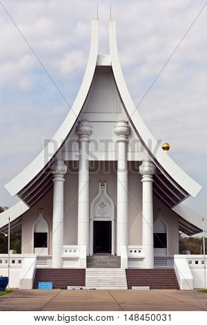 PATHUM THANI, THAILAND - DECEMBER 31, 2012: Building of Meditation Hall in Dhammakaya Meditation Center, Thailand