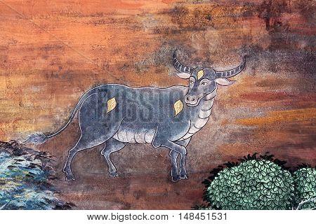 Ancient Painted Fresco At Wat Phra Kaew Temple In Bangkok, Thailand.