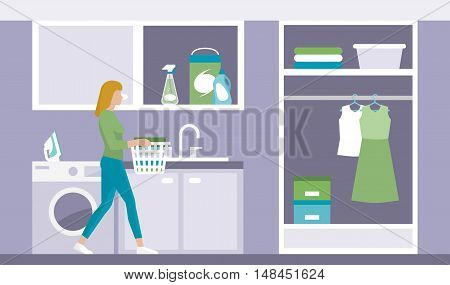 Woman doing chores in the laundry room she is carrying a basket with clean clothes