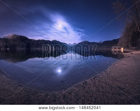 Night In Alpsee Lake In Germany. Colorful Night Landscape
