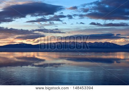 Lake Manasarovar in Western Tibet. According to the Hindu religion, the lake was first created in the mind of the Lord Brahma after which it manifested on Earth.