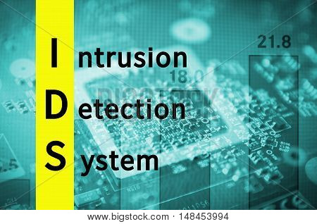 Acronym IDS as Intrusion detection system. Abstract illustration.
