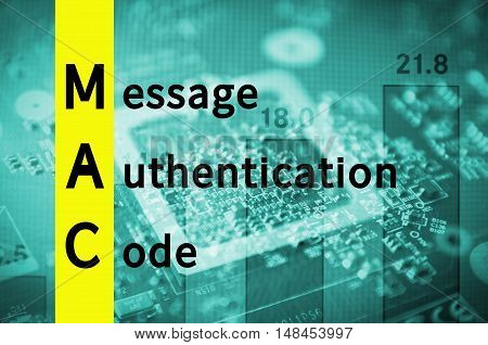 Acronym MAC as Message authentication code. Abstract illustration.