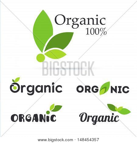 100% organic product logo set. Natural food labels. Fresh farm symbols and icons. Bio and eco vegan signs and tags. Vegetarian healthy food stickers. Vector illustration