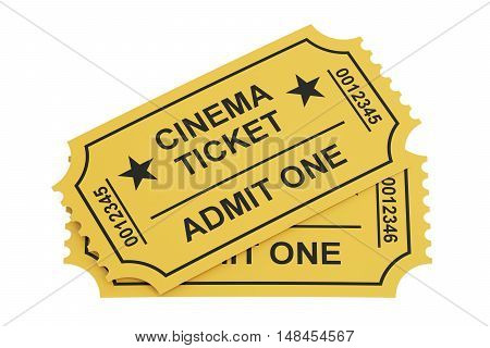 two cinema tickets 3D rendering isolated on white background