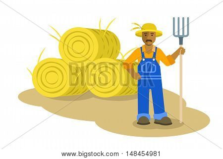 African American farmer man standing with pitchfork near group of hay bales. Vector flat illustration. Farming cartoon character. Organic agriculture concept. Smallholder harvesting in work uniform