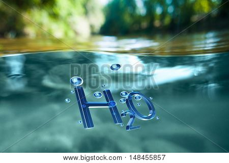 Concept of  renewable natural resources. Chemical formula water H2O in water