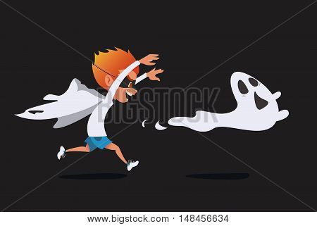 Cute kid in a ghost costume pursuing a real ghost. Prank Halloween cartoon illustration. Vector.