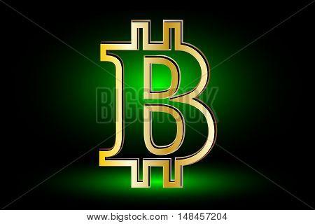 Bitcoin symbol, Bitcoin icon, Bitcoin symbol on a green background