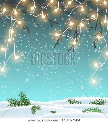 Christmas background, winter landscape with electric decorative lights hanging in dry branches, vector illustration, eps 10 with transparency and gradient meshes