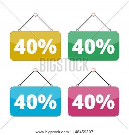 40 percent sale icon set, Discount 40%, four color