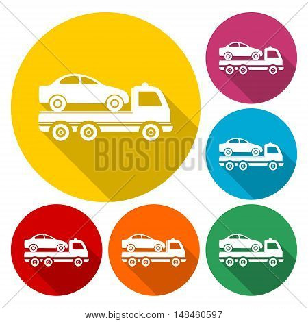 Car towing truck icon with long shadow
