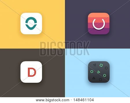 App icons set. Icons template for applications.
