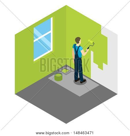 House painter isometric design with worker applying green dye to wall in empty room vector illustration