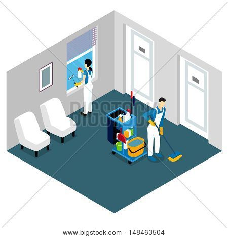 Professional cleaning isometric design with man tidying floor and woman washing window in office space vector illustration