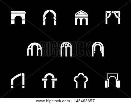 White silhouette signs of different types of arch. Archways, gates, entrance and other elements of construction and building decoration. Monochrome glyph design vector icons set on black background.