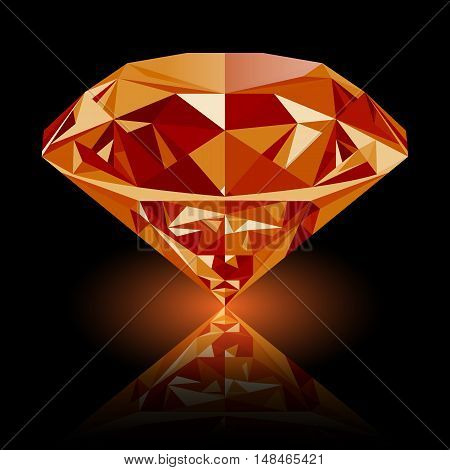 Realistic shining orange topaz jewel with reflection and orange glow isolated on black background. Colorful gemstone that can be used as part of logo icon web decor or other design.
