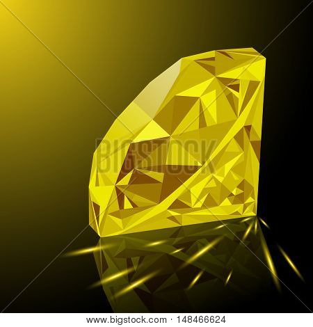 Realistic shining yellow topaz jewel with reflection yellow glow and light sparks on gradient background. Colorful gemstone that can be used as part of logo icon web decor or other design.