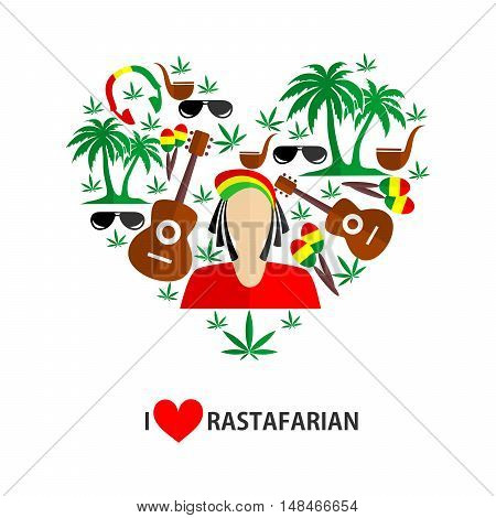 set of icons in the style of a flat design on the theme of Rastafarian.