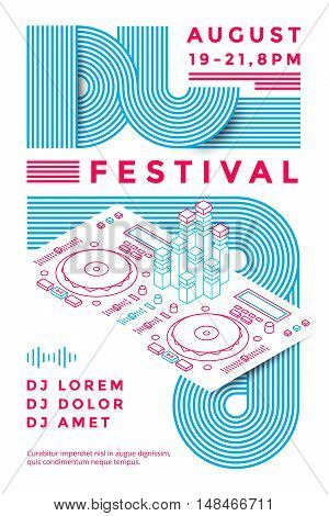 Dj festival poster design template. Music flyer. Vector line illustration