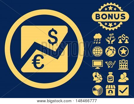 Euro Dollar Chart icon with bonus pictures. Vector illustration style is flat iconic symbols yellow color blue background.