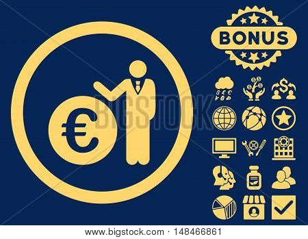 Euro Economist icon with bonus design elements. Vector illustration style is flat iconic symbols yellow color blue background.