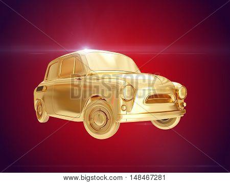 Golden car in retro styles. 3D rendering