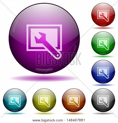 Set of color screen settings glass sphere buttons with shadows.