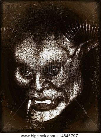 Creepy Halloween monsters on a dark background
