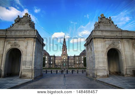 View on Christiansborg Palace from The Marble Bridge in Copenhagen Denmark