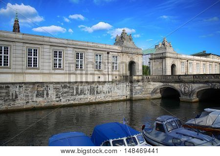 The Marble Bridge over canal Christiansborg Palace in Copenhagen Denmark