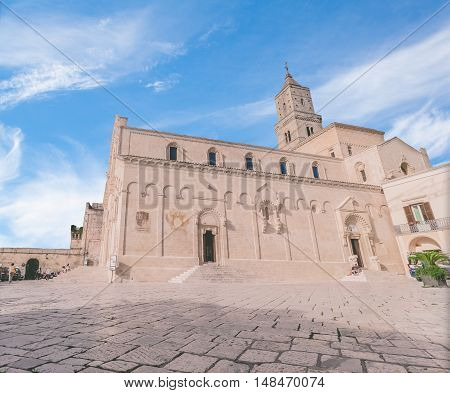 View Of Typical Church Of Matera, Cathedral Of Matera Under Blue Sky
