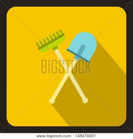 Shove and pitchfork icon in flat style on a yellow background vector illustration