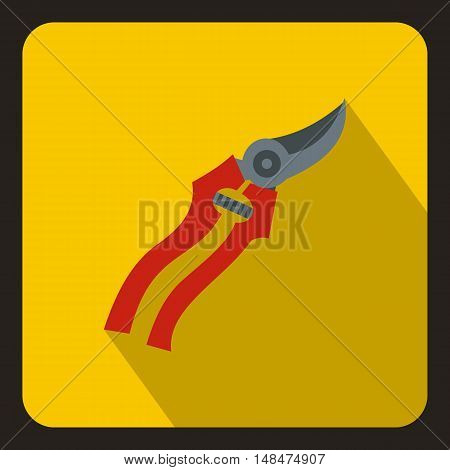 Pruner icon in flat style on a yellow background vector illustration