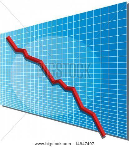 Linechart going down, isometric 3d vector illustration