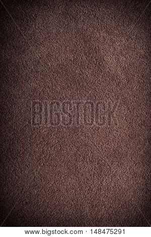 Closeup dark brown suede soft leather as texture background