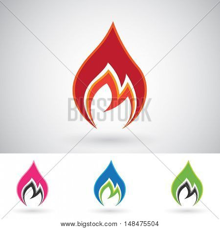 Illustration of Colorful Fire Icons isolated on a white background