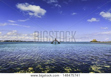 Saint Malo pool view old diving boards and fort. Brittany France Europe