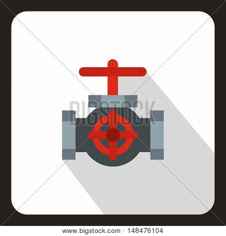 Pipe with a red valves icon in flat style on a white background vector illustration