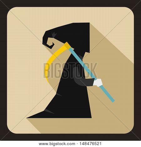 Grim reaper icon in flat style on a beige background vector illustration