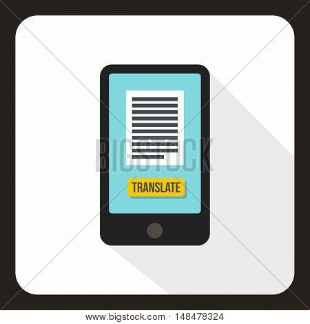 Translator on phone icon in flat style with long shadow. Translate symbol vector illustration