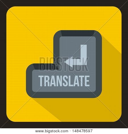 Translate button icon in flat style with long shadow. Translation symbol vector illustration
