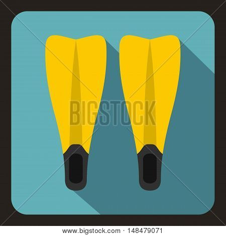 Flippers for diving icon in flat style with long shadow. Swimming symbol vector illustration