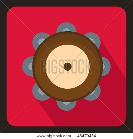 Tambourine icon in flat style with long shadow. Musical instrument symbol vector illustration