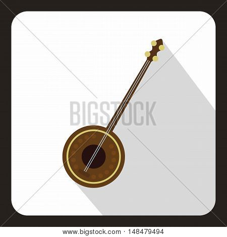 Dutar icon in flat style with long shadow. Musical instrument symbol vector illustration